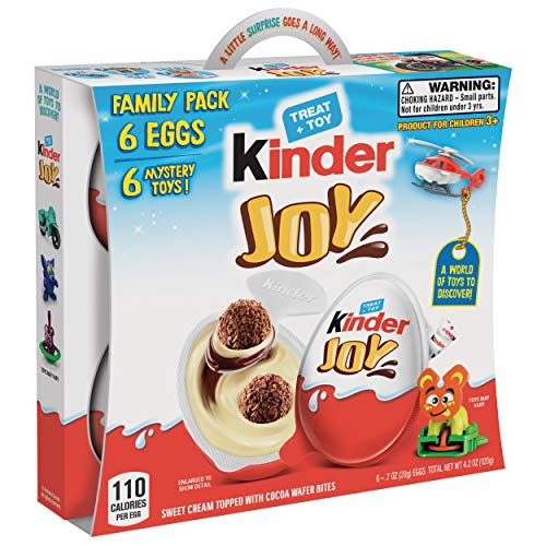 Kinder JOY Eggs, 6 Pack Individually Wrapped Chocolate Candy Eggs With Toys Inside, Christmas Stocking Stuffer Surprise for Kids, 4.2 oz