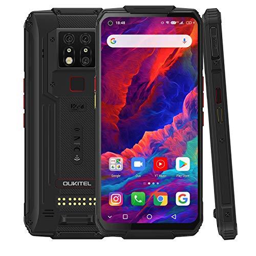 Outdoor Smartphone Ohne Vertrag, OUKITEL WP7 Outdoor Handy, 6,53 Zoll Android 9.0 Dual SIM 4G IP68/IP69K Robustes Smartphone, 8GB+128GB Helio P90, 8000mAh 48 MP AI-Dreifachkamera, NFC (Schwarz)