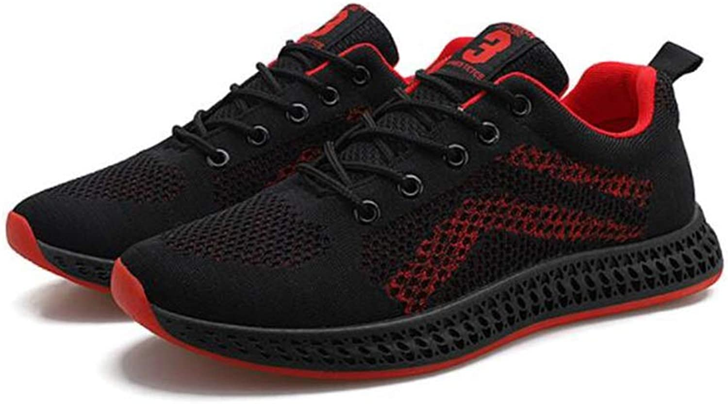HIAO sandals Knitting shoes Motion Net Breathable Flying Weaving Male Student Jogging Male Spring Summer Light Black Red Splice Simple Refreshing (color   Black, Size   5.5 UK)
