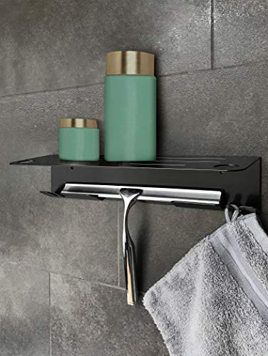 Designer Duschregal aus Edelstahl in schwarz, Duschablage,Wand-Duschregal Rostfrei für den Nassbereich, mit Bohren