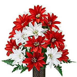 Sympathy Silks Artificial Cemetery Flowers – Realistic – Outdoor Grave Decorations – Non-Bleed Colors, and Easy Fit – Red and White Dahlias – with Flower Holder