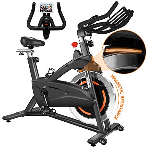 FXW Magnetic Resistance Indoor Spin Bike Cycling Stationary Exercise Bikes for Home Gym Cardio Training Bike with Belt Drive 40LB Flywheel Comfortable Seat Cushion Tablet Holder 300LB Capacity