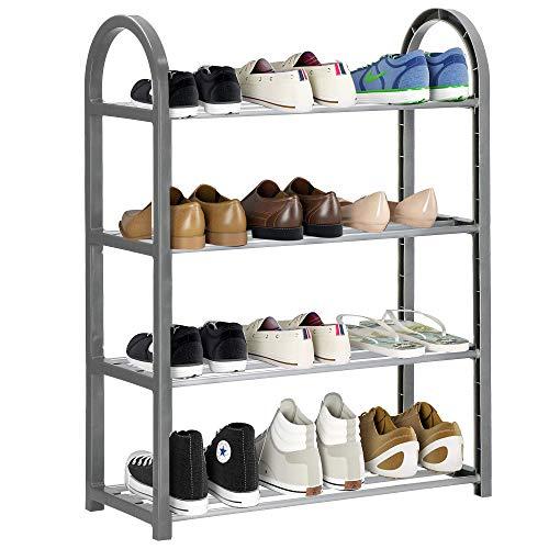 SPRINGOS Schuhschrank Schuhregal Regal Schicht Schuhablage 4 Ebenen Schuhständer Schuhe Regal Weinkisten Schuhregal Schuhregal Metall Schuh Aufbewahrungssysteme Vorzimmer (Grau 64x50x19,5 cm)