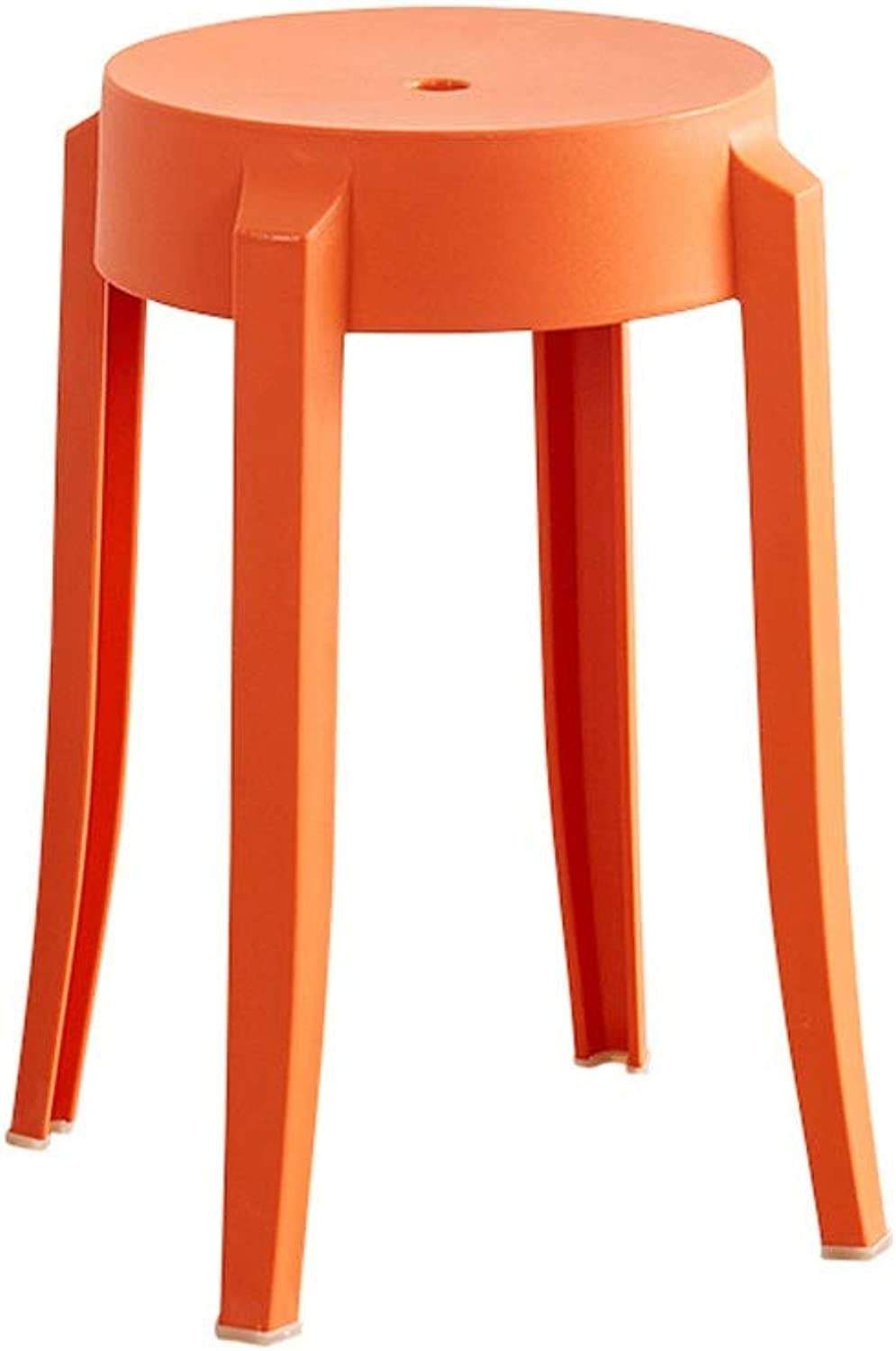 A+ Household Plastic Round Stool,Thickened Living Room Small Bench,Restaurant Simple High Dining Table Chair,Non-Slip PP Four-Legged Stool - 26cmX47cm (color   orange)