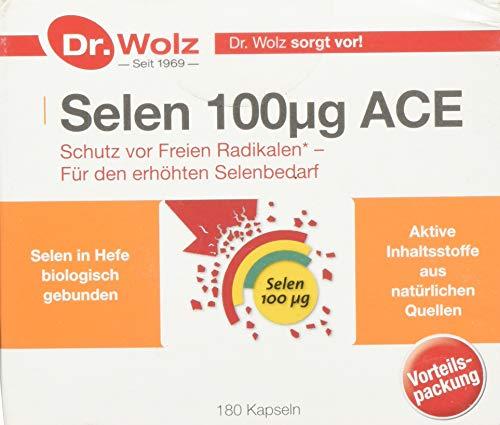 Selen ACE 100 µg von Dr. Wolz, Selen-Kapseln mit Vitamin C und E, für den Zellschutz, enthält Vitamine, Mineralstoffe und Spurenelemente, 180 Kapseln