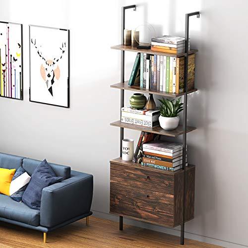 Industrial Ladder Shelf with Drawers, 3 Tier Open Shelf Storage Rack Shelves Ladder Bookshelf Plant Flower Stand Matte Metal Frame for Home, Living Room, Kitchen, Office