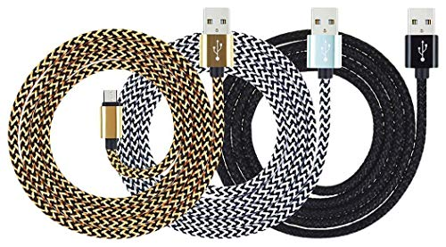 Amazon Kindle Cable Fire 10ft Micro USB Cable,Myckuu High Speed USB 2.0 Cable For Amazon Kindle Fire, HD, HDX,8.9, Kindle Paperwhite,Voyage, works with all Micro-USB Tablets(black gold white)