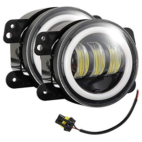 Acamptar Nebelscheinwerfer, 10 cm, rund, 30 W, 6000 K, Weiß, Halo-Ring, Nebelscheinwerfer, Gelb, 2 Stück