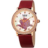 Burgi Swarovski Crystal Encrusted Women's Watch with Red Genuine Leather Strap –Mother of Pearl Dial with Mosaic Lotus Flower Design and Crystal Marker Accents – BUR159RD