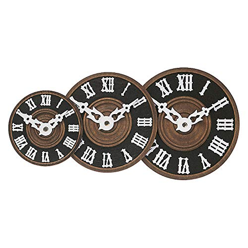 SELVA Zifferblatt für Kuckucksuhren – aufgelegte Römische Zahlen – Außenmaß-Ø: 60-110 mm – Material: Gedrehtes, gebeiztes Holz (60)