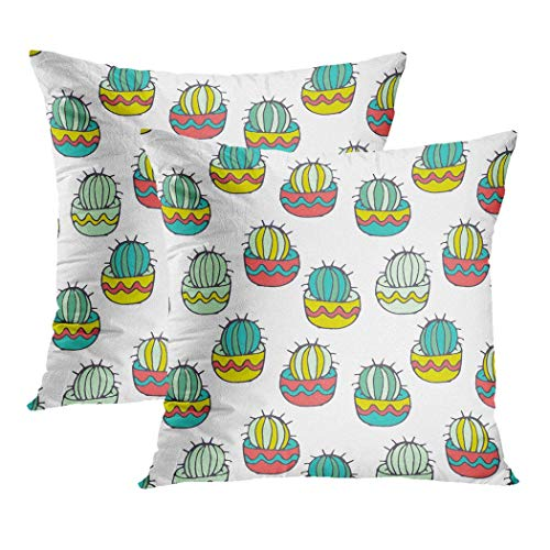 LLZQJ-DAA Cactus Set van 2 Throw Kussenslopen Cactusschets Bloempotten Mexicaanse Stijl Woestijn Sappig Polyester Verborgen Rits Kussenslopen Kussenslopen voor Sofa es