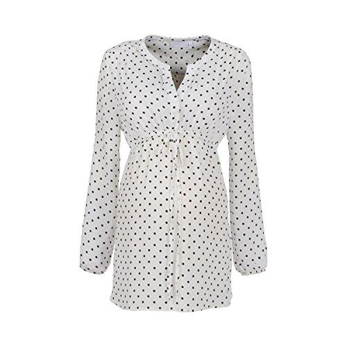 2HEARTS Umstands- und Still-Bluse Dots - Umstandsbluse im Punkte-Design mit verdeckter Knopfleiste & Schlitzausschnitt - Offwhite/Dress Blues