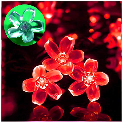 SEMILITS Solar String Lights Outdoor Waterproof 23ft 50 Cherry Blossoms LED Fairy Light Decorations for Home Christmas Tree Garden Patio Yard Spring Red