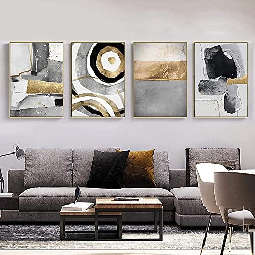 Impresiones de imágenes 4 piezas 60x80cm Sin marco (Giclee) Moderno Abstracto Geométrico Negro Blanco Color Bloque Lámina dorada Arte de la pared Impresión Póster Decoración de la sala de estar