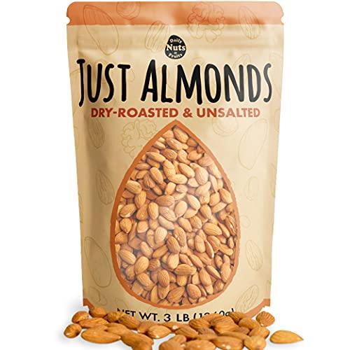 Just Roasted Almonds 3 LB / 48 OZ (Whole, Paleo & Keto, Non-GMO, Certified Gluten-Free, Plant Protein, Antioxidant Vitamin E, Fiber) (Unsalted)