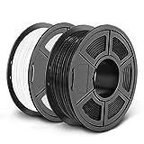 SUNLU PETG 3D Printer Filament, Dimensional Accuracy +/- 0.02 mm, 2kg, 1.75 mm, Black+White