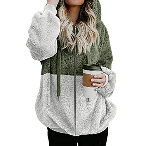 FMYONF Sudadera con capucha para mujer, elegante bloque de colores, de forro polar de peluche, de manga larga, monocolor, para otoño e invierno, verde, S