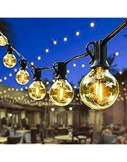 Lichtsnoer G40, 15,2 m met 50 + 2 ledlampen, lichtketting voor buiten, waterdicht, warmwit, decoratie, lichtketting voor feest, tuin, bruiloft, patio, party, Kerstmis