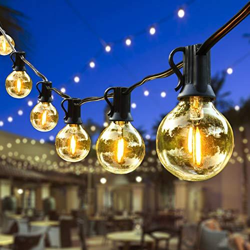 ORAOKO Lichterkette Glühbirnen G40, 7.6M 25 Birnen mit 2 Ersatzbirnen Warmweiß LED Lichterkette Außen IP44 Wasserdicht Outdoor Lichterkette für Garten, Bäume, Terrasse, Weihnachten, Hochzeiten, Partys
