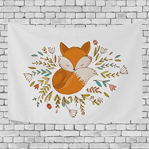 AEMAPE Baby Fox Sleeping Floral Dormitorio Tapiz Colgante de Pared Exclusivo Tapices de Fondo Multiusos para Sala de Estar, Entrada y Cocina. 60x40 Pulgadas