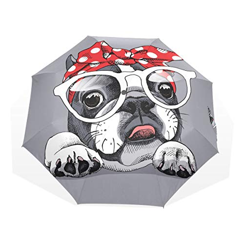 Rain Umbrellas for Women French Bulldog Portrait Headband Glasses Windproof Fold Up Umbrella for Kids Rain & Wind Resistant Compact and Lightweight for Business and Travels