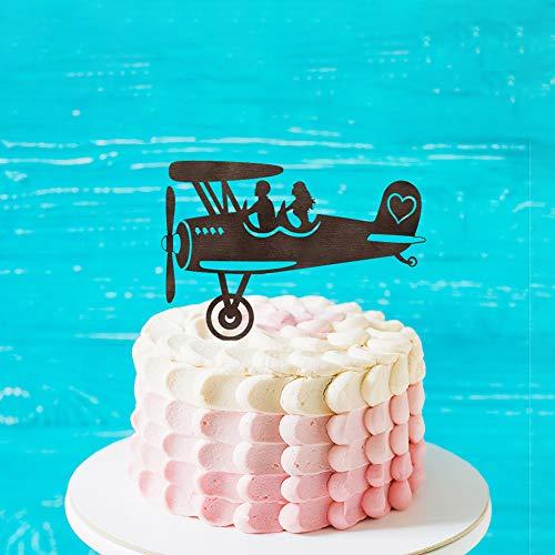 Rustiek Vliegtuig Silhouette Bruiloft Taart Topper, Gepersonaliseerde Naam Taart Topper,Mr &Mrs Bruiloft Topper met Bruid en Groom voor Verjaardag