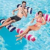 Cama flotante Hamaca de agua hinchable, tumbona de salón, cómoda, portátil, flotador para piscina, playa, flotador para adultos, 2 unidades (Dark Blue+Pink)