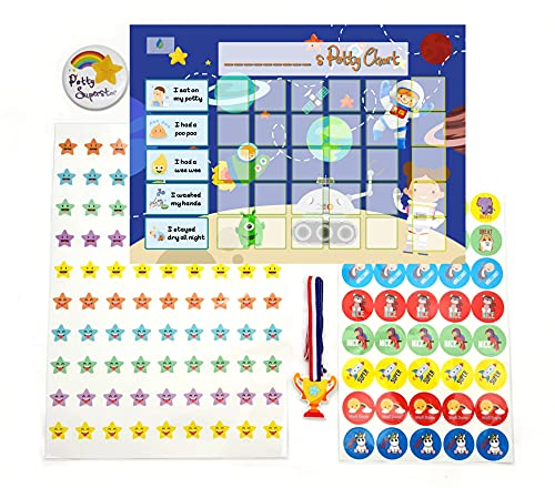 Potty Training Reward Chart - Toilet Training Chart for Toddlers & Children with Stickers Badge PVC Medal (Outer Space)