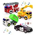 Fire Truck, Construction Truck, Police Car and Garbage Truck with Sound and Light, Pull Back Cars Push and Go Cars Friction Powered Play Vehicles for Toddler Boys and Girls by CUTE STONE