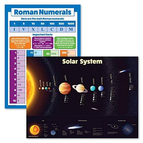 """2 Pack - Solar System Poster for Kids & Learning Roman Numerals Chart (Laminated, 18"""" x 24"""")"""