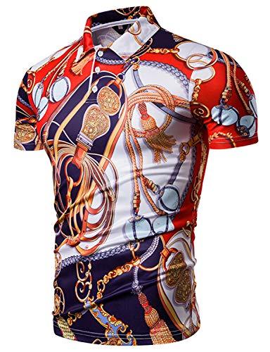 WHATLEES Herren 3D Print bunt Polohemd Kurzarm Poloshirt Freizeit Casual bunt Polo mit floral Blumen Tarnmuster