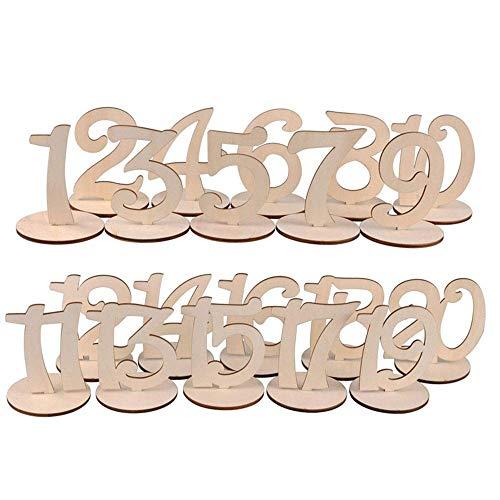 Numeri da tavolo per matrimoni - Da 1 a 10 numeri da tavolo in legno con base di supporto per eventi di feste di matrimonio o decorazioni per tavoli da catering, decorazioni per la casa. (10 pezzi)