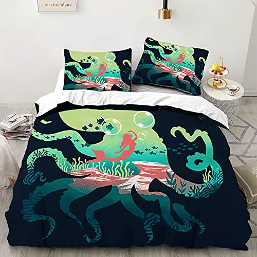 Duvet Cover Twin OWL QUEEN 3 Pieces Bed Set Soft Washed Microfiber Printed Comforter Cover Mermaid...