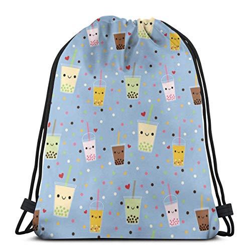 """Yuanmeiju Happy Boba Bubble Tea 3D Print Mochila con cordón Rucksack Shoulder Bags Bolsa de Gimnasio For Adult 16.9""""X14"""""""