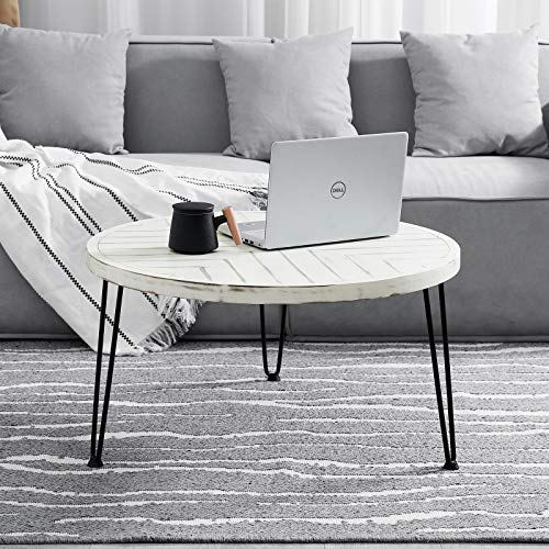 Round Coffee Table Rustic Vintage Industrial Design Furniture Sturdy Metal Frame Legs