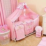 Bello - Juego de ropa de cama para bebé (16 piezas, 60 x 120 cm, color rosa)