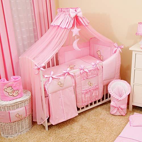 Bello - Set di biancheria da letto per bambini, 16 pezzi, baldacchino per culla, paracolpi, paracolpi, biancheria da letto per bambini, 60 x 120 cm, colore: Rosa