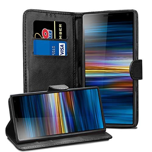 Sony Xperia L3 Lederhülle – Premium Wallet Hülle Leder Flip Cover für Sony Xperia L3 [Kartenhalter] [Magnetverschluss] (schwarz)