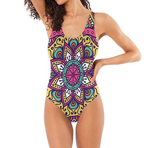 Vintage Floral Indian Style One Piece Bademode für Frauen Mädchen Badeanzug Bauchweg Rückenfrei Badeanzug Tankini Bikini Gr. M, mehrfarbig
