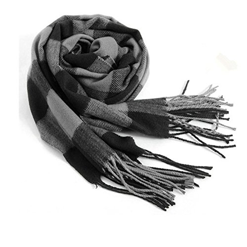 Rdylymx Men's Scarves Hot Sale Scarf Classic Arrival Winter Plaid Scarf Tassel Edge Soft Warm Scarf(Black Grey)