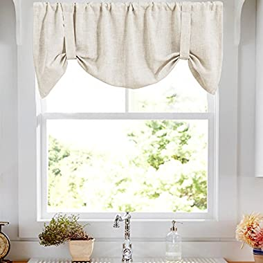 Tie-up Valances for Windows Linen Textured Adjustable Tie Up Shade Window Curtain Rod Pocket Crude Tie-up Valance Curtains 18 Inches Long 1 Panel