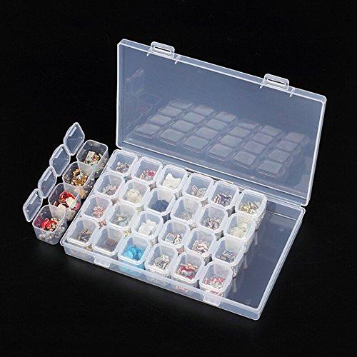 Organizador Nighteyes66 ajustable, con 28 ranuras, de plástico transparente, recipiente...