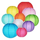Colorful Paper Lanterns, Chinese Japanese Hanging Round Decorative Paper Lanterns for Birthday Halloween Wedding Baby Bridal Shower Home Decor Party Decoration