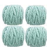 4 Pack Mint Polyester Jumbo Chenille Yarn Premium Soft Giant Bulky Chunky Arm Hand Finger Knitting Yarn for Handmade Chunky Braided Knot Pillow Throw Blanket (Mint, 32 oz / 2 lbs / 1kg)