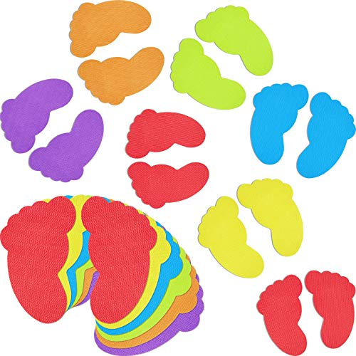 48 Pieces Colorful Feet Carpet Markers Foot-Shaped Floor Markers for Classroom Home,7 Inches