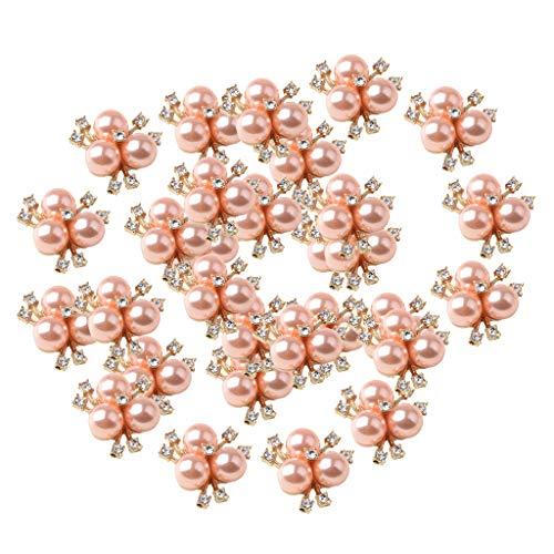 P Prettyia 30 Stücke Nette Modeschmuck Kristall Strass Geblühten Perlenknopf Halskette Ornamente Haarband Dekore Ohrringe Liefern Rose Gold Ton