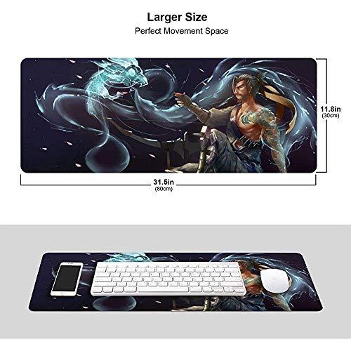 Overwatchs Extended Gaming Mouse Pad Hanzo mit Dragon 31,5 x 11,8 Zoll mit genähten Kanten, hochwertig Strukturiertem Stoff mit Rutschfester Gummibasis