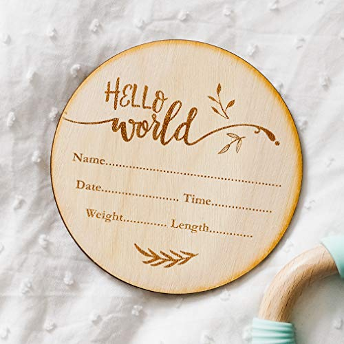 Hello World - Fill In Your Own Details - New Baby Birth Announcement Wooden Plaque Sign