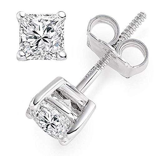 2 ct Princess Cut Solitaire Stud Earrings Lab Diamond 14k White Gold Screw Back