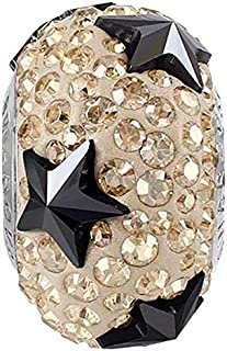 SWAROVSKI pave Star Bead Golden Shadow, Hematite Color Stainless Steel Becharmed 15 mm-9.30 mm